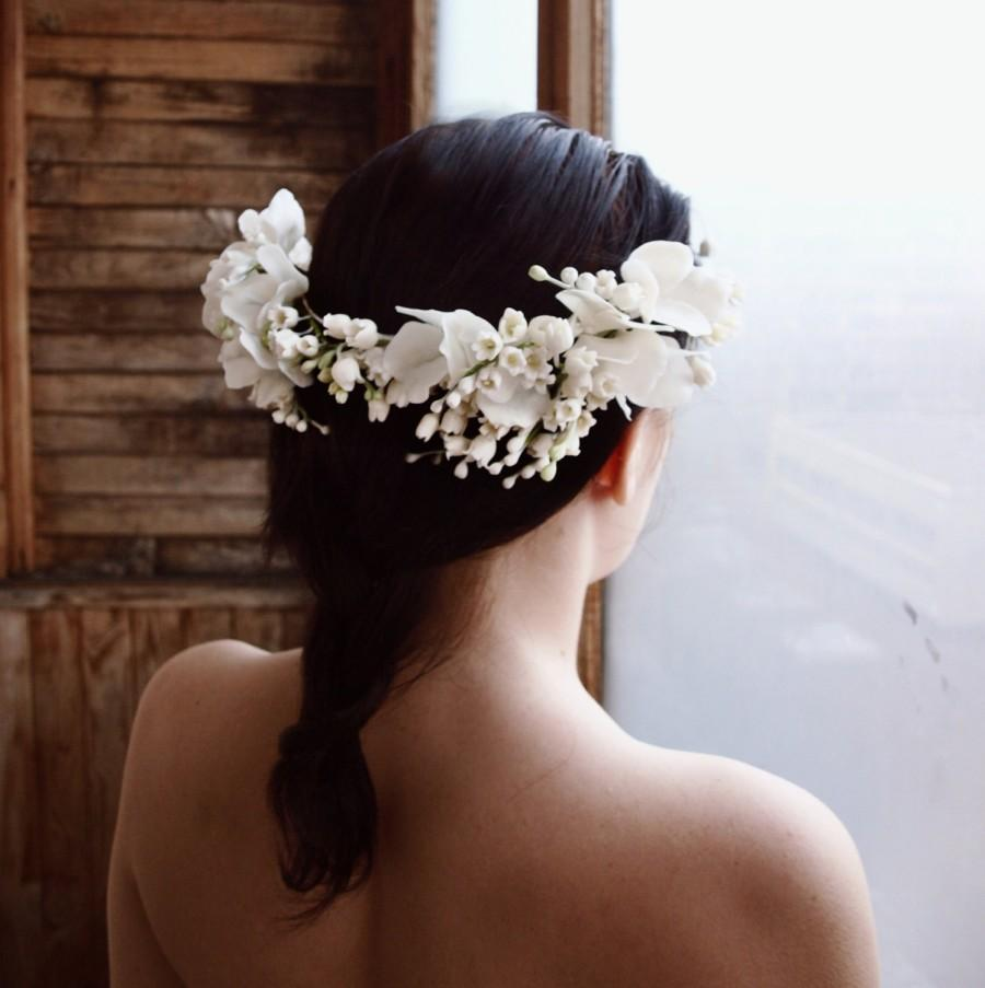 Wedding - Flower Crown Floral Headband  ,bridal  headband, lilly of valley, wedding crown