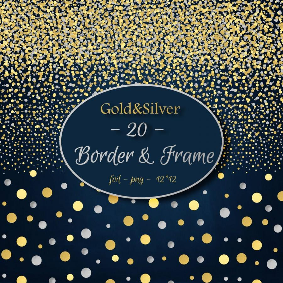 Wedding - Foil digital clipart Gold Silver Foil Border Frames Confetti Borders Digital Borders Corners Frames Gold Foil Overlay  Border Clip art PNG