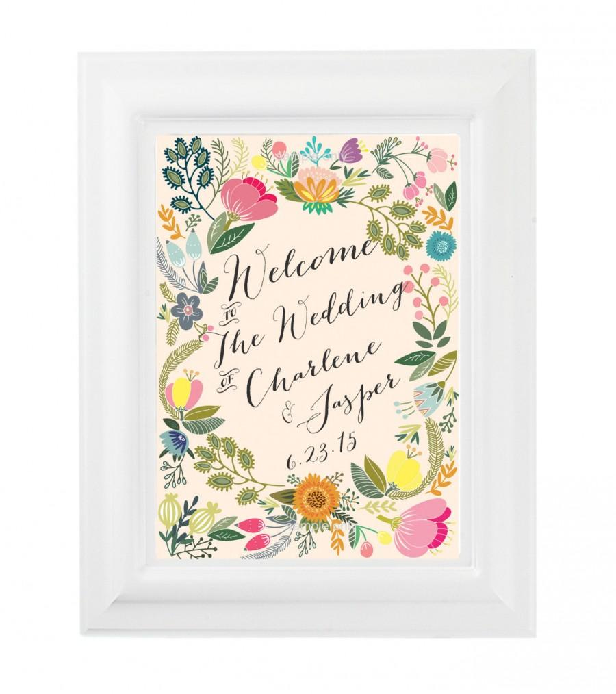 Свадьба - Wedding Welcome Sign Blossom - printable welcome sign wedding diy CUSTOMIZED