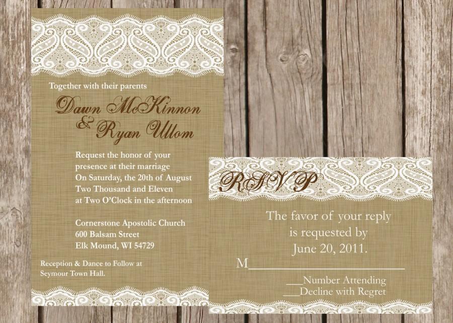 Wedding - Burlap and Lace Wedding Invitation, Vintage Lace Wedding Invitation, Western Wedding Invitation