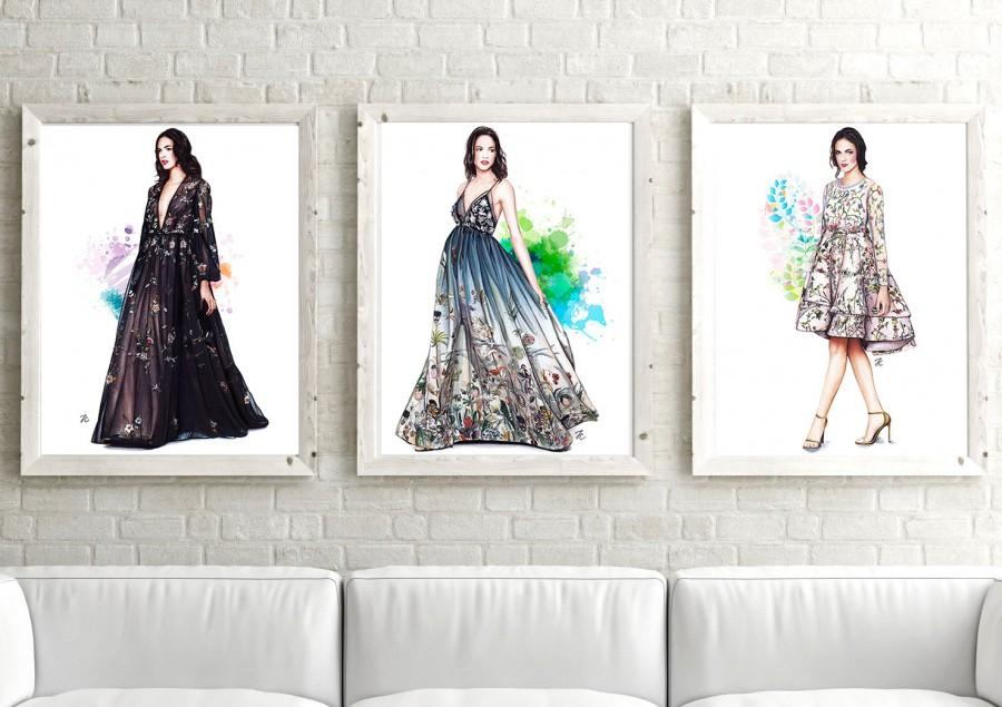 Wedding - Fashion Couture, Set of 3 prints, set 3 prints, set of 3 watercolor,set of 3 designer,set of 3 fashion, fashion illustration, watercolor art