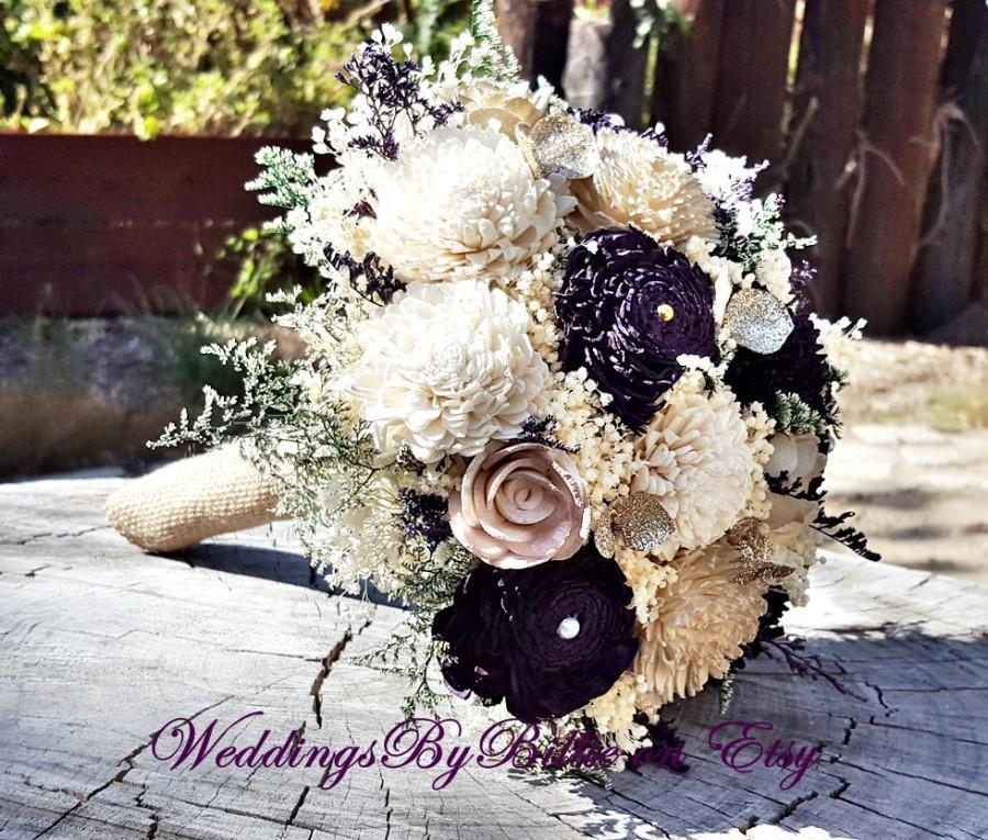 Свадьба - Sola Bouquet, Plum Champagne Sola Bouquet,Burlap Lace,Purple Bouquet,Alternative Bouquet,Bridal Accessories,Keepsake Bouquet,Wedding Bouquet