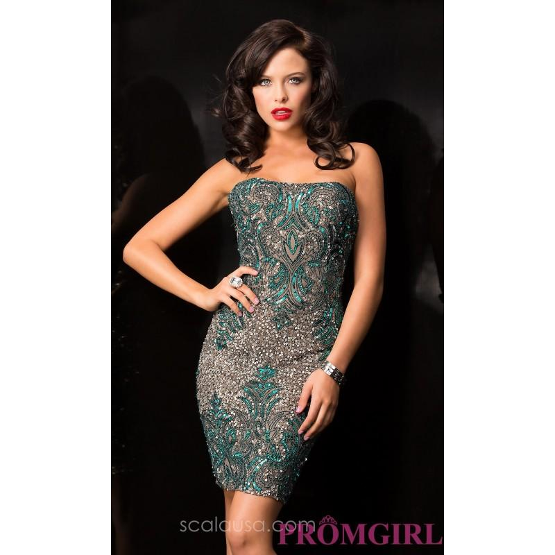 Wedding - Short Strapless Sequin Scala Dress - Discount Evening Dresses
