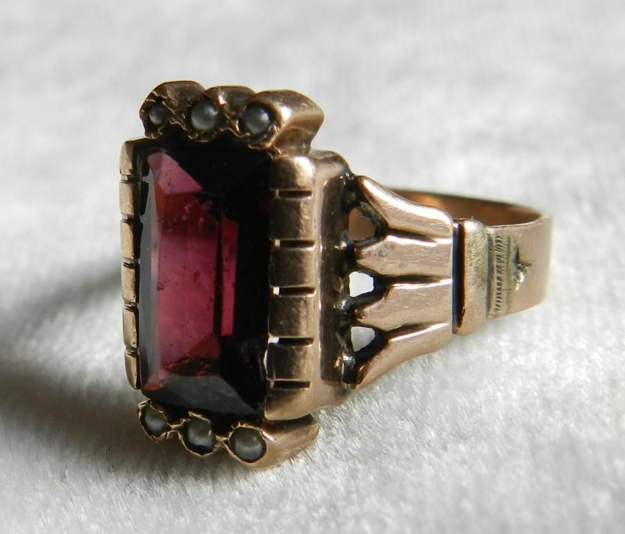 Garnet Ring Aesthetic Era Bohemian Garnet Engagement Ring Rose Gold