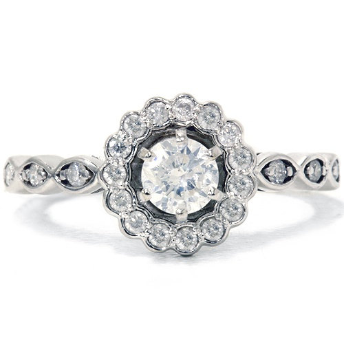 Hochzeit - Petite .85CT Diamond Engagement Ring 14K White Gold Size (4-10)