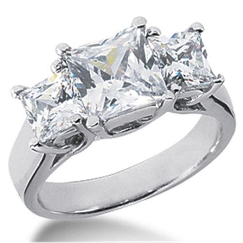 زفاف - 2.00CT SI Three Stone Princess Cut Real Diamond Ring 14K Gold