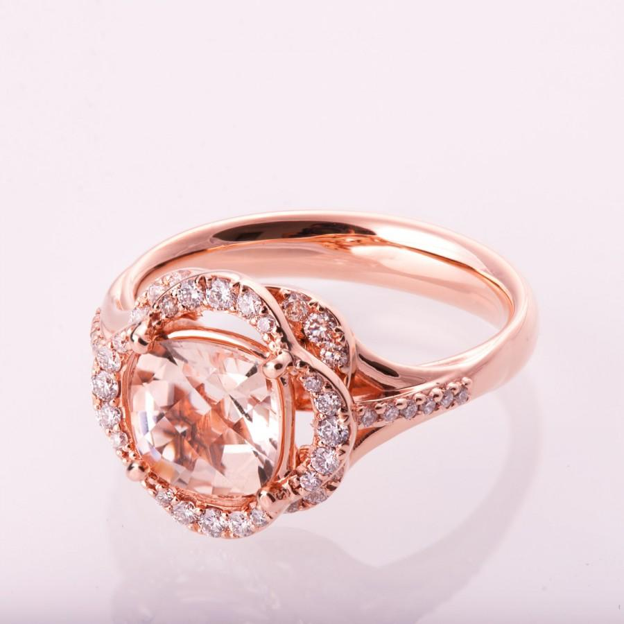 Morganite Engagement Ring, Flower Ring, Unique Engagement Ring, Art ...