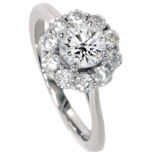 Mariage - 1.20CT Halo FIRE Diamond Engagement Ring 14K White Gold