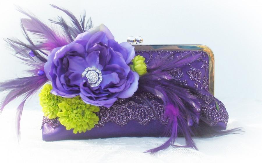 Mariage - Purple Bridesmaid Clutches / Bridesmaid Gift / Prom Clutch / Mother of the Bride / Garden Wedding / Peacock Wedding