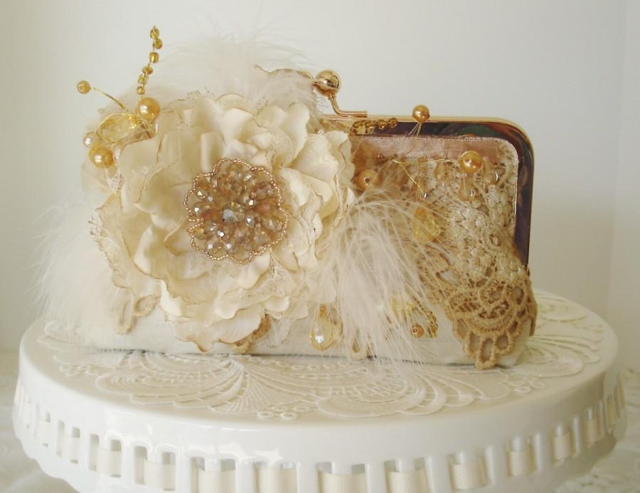 Mariage - Ivory Clutch / Lace Clutch / Gatsby / Rustic Eleganct Wedding / Garden Wedding