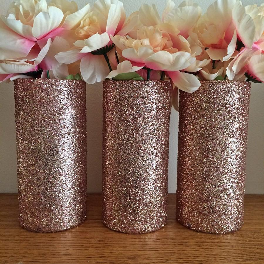 3 glass vases rose gold vases wedding centerpieces rose for Decoration rose gold