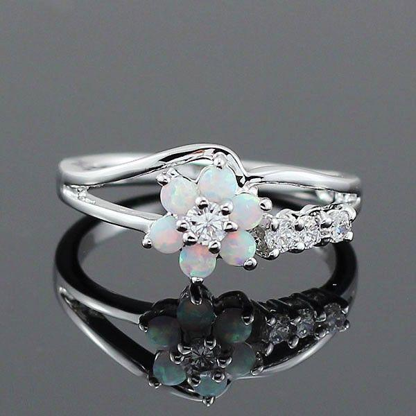 Wedding - Opal Flower Ring