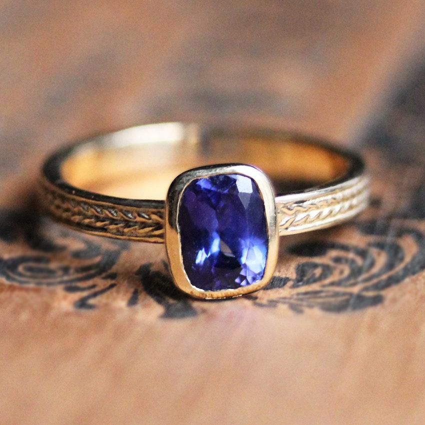 Hochzeit - Tanzanite ring gold, tanzanite engagement ring, braided ring, gift for wife gift, recycled gold, bezel engagement ring, wheat ring, custom