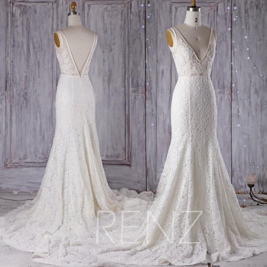 2016 Off White Lace Wedding Dress V Neck Bridesmaid Dress