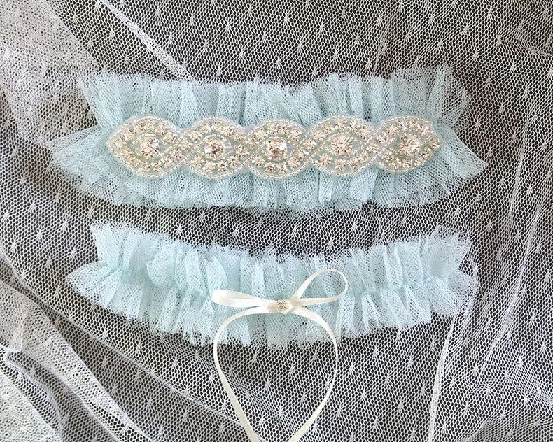Wedding - SALE Light Blue Silk Tulle Rhinestone Crystal Garter Set Something Blue ,Ballerina Ruffles Tutu Bridal Lingerie Wedding Baby Blue Garter
