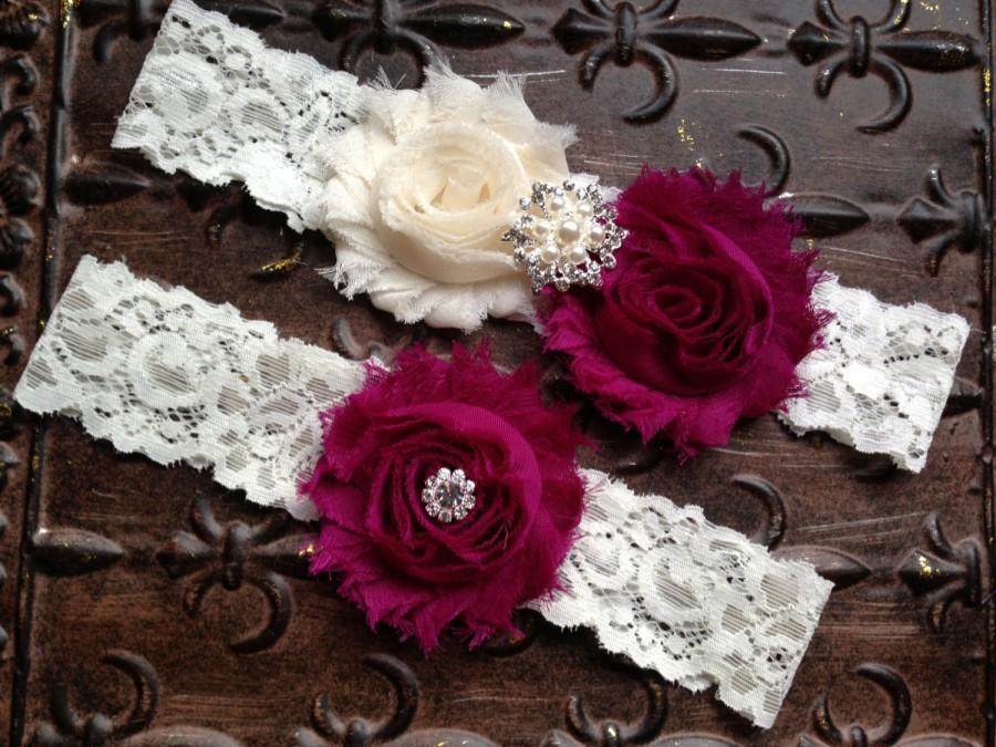 Wedding - Cranberry Wedding Garter, Ivory Cranberry Garter, Ivory Wedding Garter, Lace Wedding Garter, Burgundy Wedding Garter, Bridal Garter Set