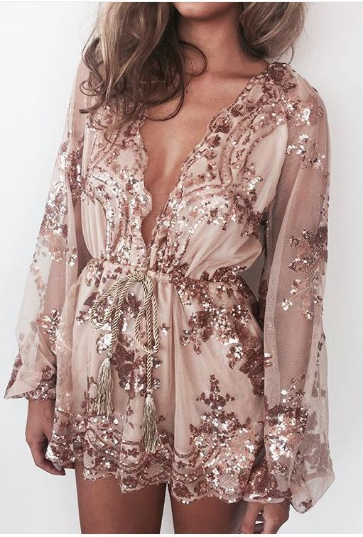 Wedding - Sequins And Mesh Romper