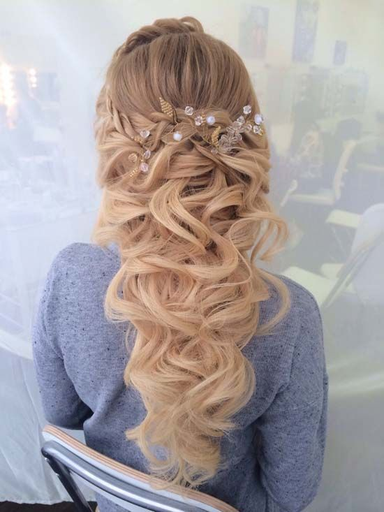 Gallery Long Curly Half Up Half Down Wedding Hairstyle Via