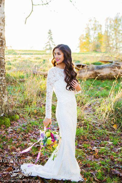 Wedding - Long Sleeve All Over Lace Wedding Dress (#SS16108)