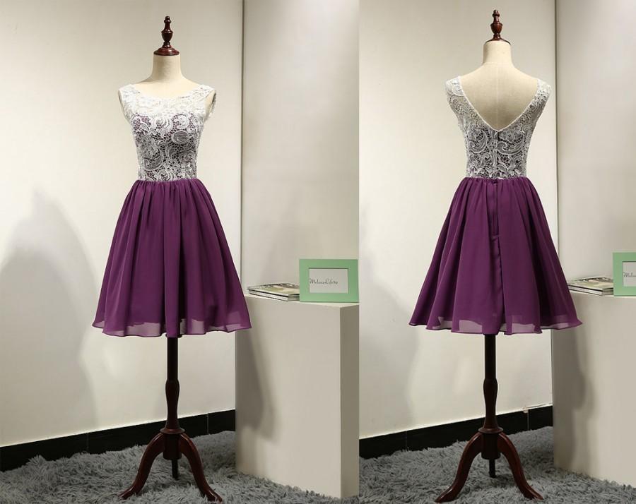 White And Purple Unique Short Beach Bridesmaid Dress Lace