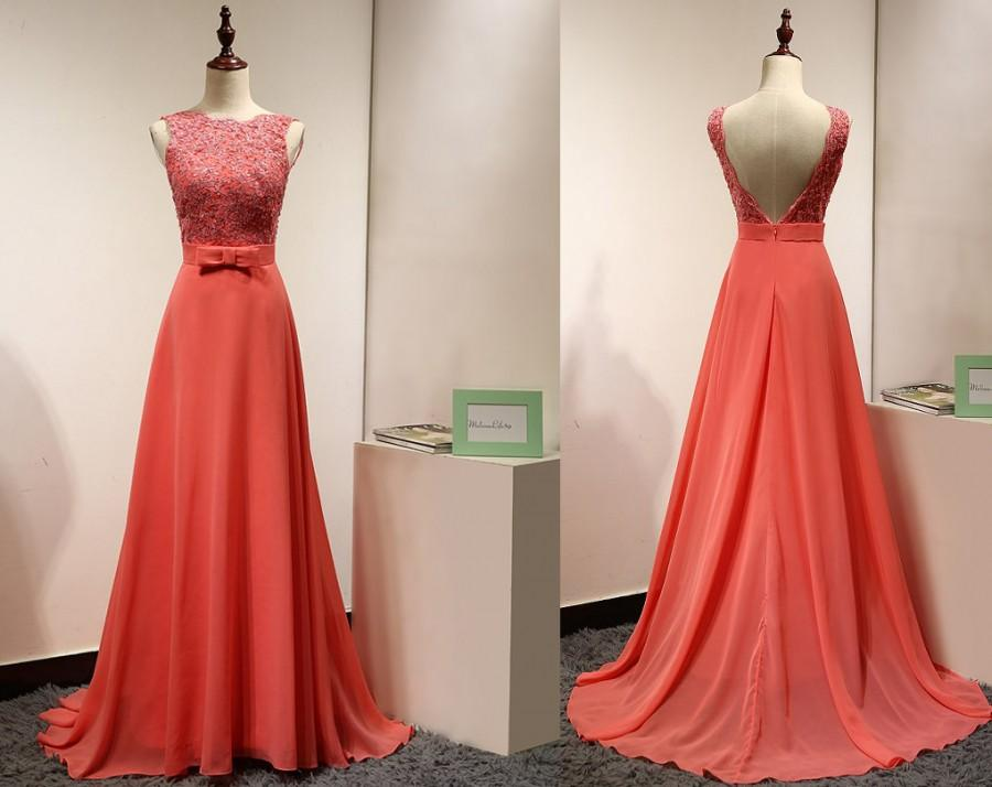 Long coral casual wedding bridesmaid dress beaded lace appliques