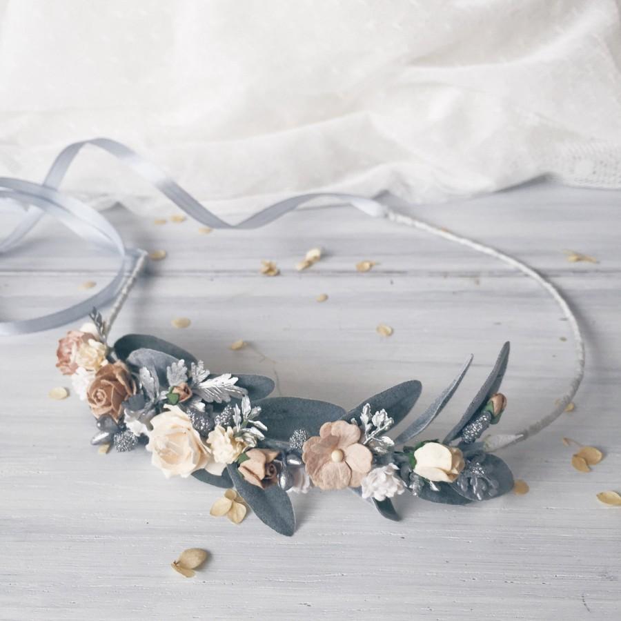 Mariage - Winter wedding, Floral crown, Bridal flower crown, Woodland wedding, Flower crown, Leaf crown, Wedding crown