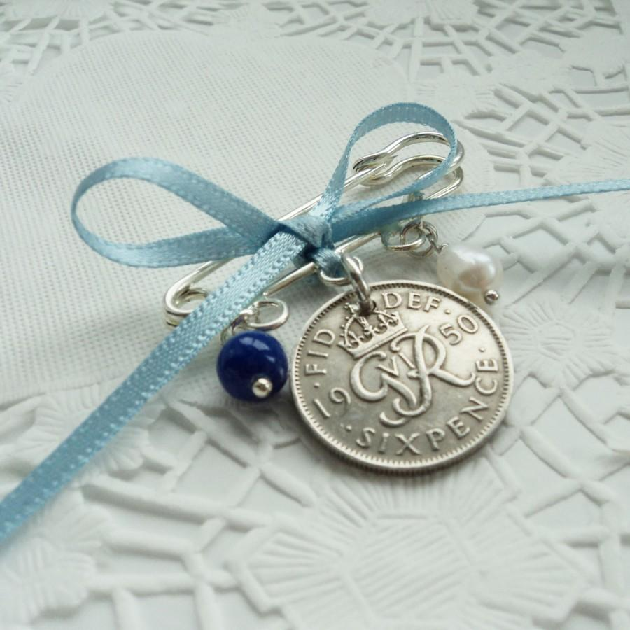 Wedding - Something Old, New, Borrowed Blue Wedding Charm - Vintage Lucky Sixpence Bridal Gift - Garter - Buttonhole or Bouquet Charm