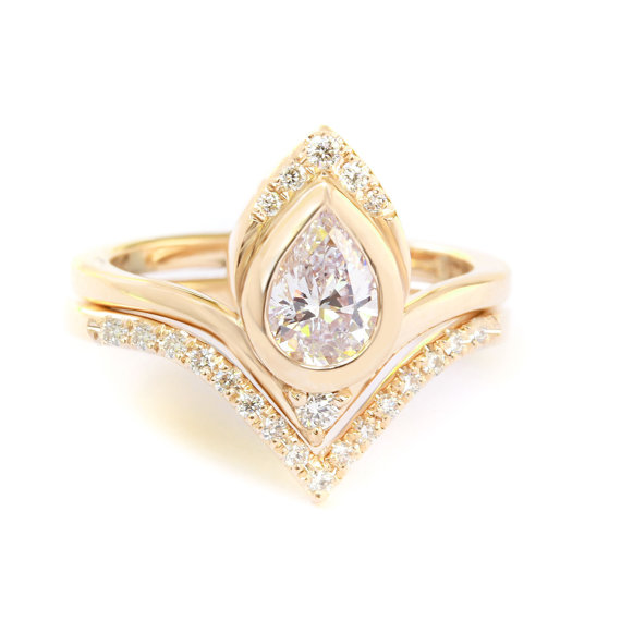 Wedding - Atyasha Engagement Ring with V Matching Diamond Wedding Band, Pear shaped 0.5ct Diamond Ring , Gold Anniversary Ring, Gift for Her Jewelry