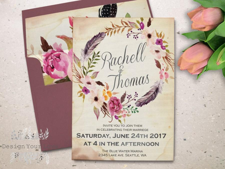Boho wedding invitation printable watercolor floral wedding invitation bohemian wedding floral wreath invite vintage wedding romantic floral