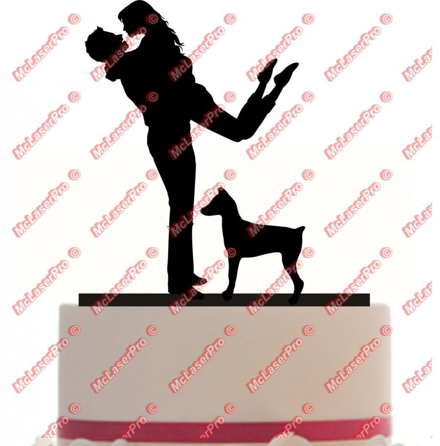 Wedding - Custom Wedding Cake Topper of Husband carrying wife with a dog silhouette of your choice, choice of color and a FREE base for display