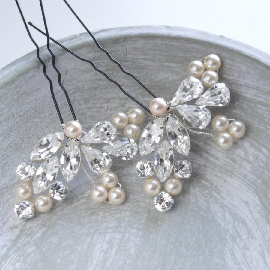 27dfe68734 Crystal Diamante Pearl Bridal Hair Pin Leaf Floral Wedding Hair ...