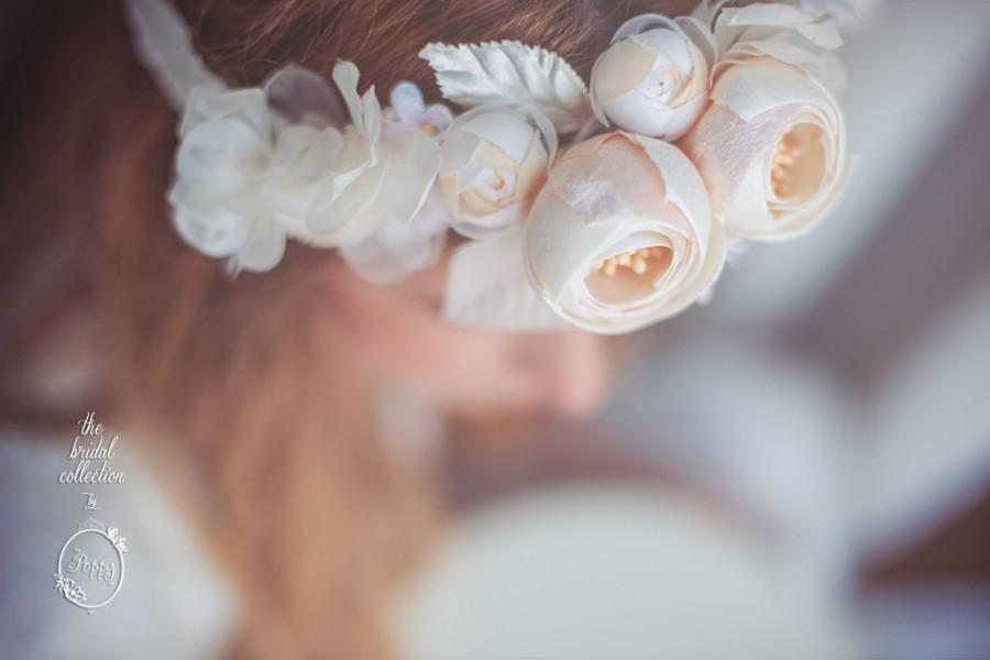 Hochzeit - Romantic Floral Crown silk, satin & velvet flowers. Wedding bride hair piece boho style. Ivory