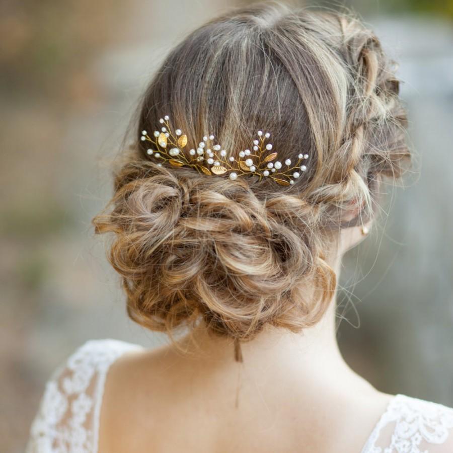 Свадьба - Leaf bridal hair pins Gold leaf wedding hair pins Bridal wedding hair pins decorated leaves Gold leaf headpiece Pearl bridal hair pins