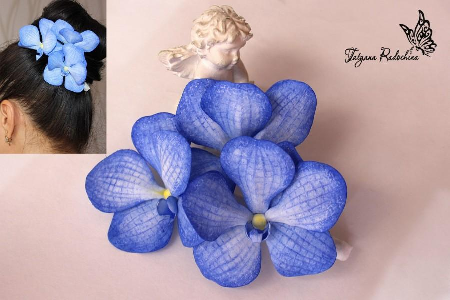 زفاف - Blue Floral Barrette Wedding Orchid Pin Vanda Tropical Wedding Blossom Flower Accessory Romantic Flower Headband Beautiful Wedding Hair Clip