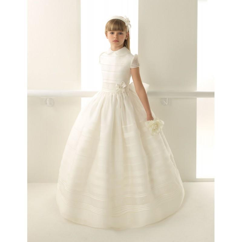 Свадьба - Nectarean Ball Gown High Neck Short Sleeve Bow(s) Floor-length Organza Communion Dresses - Dressesular.com