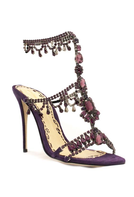 Wedding - Purple Jewel Embellished Wedding Shoes