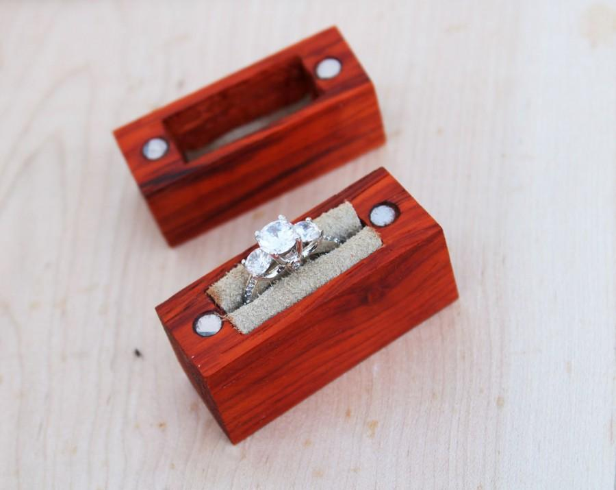 Wedding - Padauk Engagement Ring Box // Handcrafted Ring Box // Wood Ring Box // Wooden Ring Box