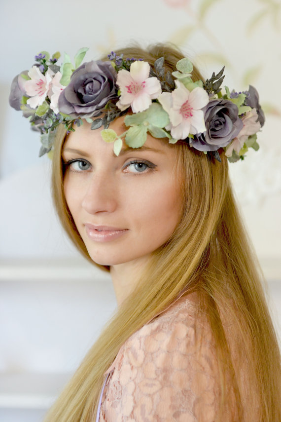 Wedding - Boho flower crown Bridal floral crown Boho wedding floral crown Roses headband Floral hair accessory Rose head piece Wild flowers hair dress