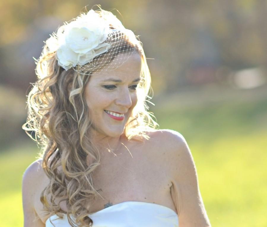 Wedding - Flower Bird Cage Veil on a Headband // Cordelia