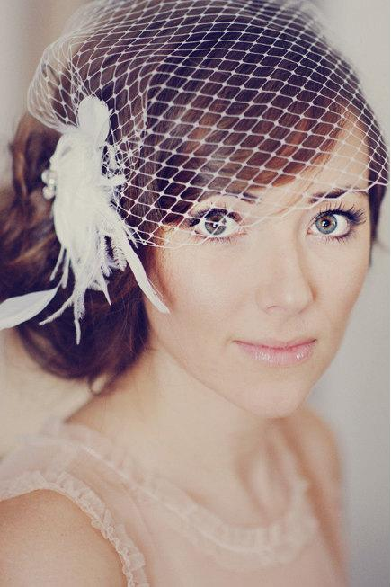 Mariage - Ivory Feather Bridal Clip with Vintage Accent /// Hannah