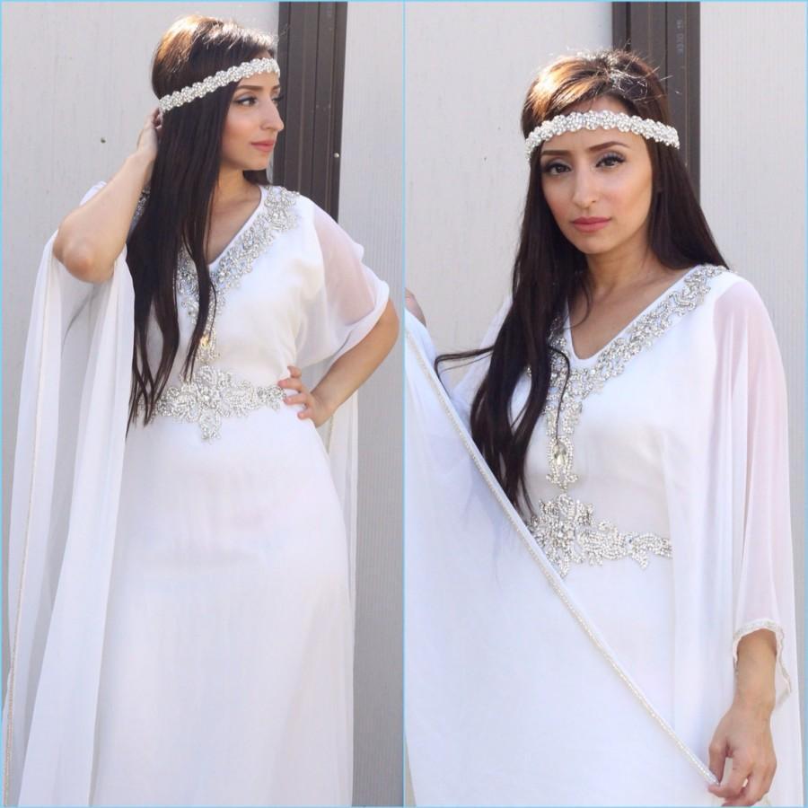 Yara yosif bridal halla all white henna wedding kaftan for White kaftan wedding dress