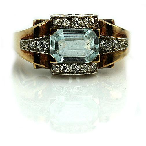 Wedding - Aquamarine Engagement Ring Art Deco 2.03ctw Emerald Cut Antique Aquamarine Ring 18K Yellow Gold Vintage Gemstone Aquamarine Diamond Ring!