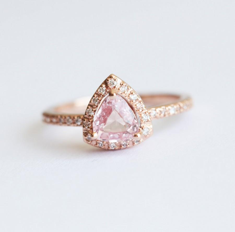 Wedding - Peach Sapphire Ring, Peach Sapphire Engagement Ring, Pink Sapphire Ring, Halo Diamond Ring, Rose Gold Engagement Ring, Rose Gold Sapphire