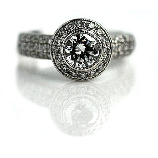 Wedding - Simon G Vintage Engagement Ring 1.85ctw Simon G Round Cut Diamond Vintage Wedding Ring Platinum Cocktail Ring Engagement Ring Size 4.5!