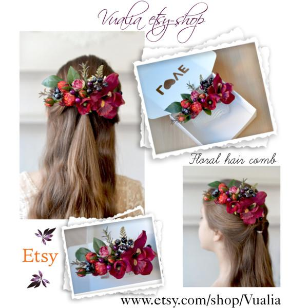 Wedding - Burgundy floral bridal comb Boho hair comb Silk flower back hair piece Wedding flower comb red hair dress Orchid comb Burgundy