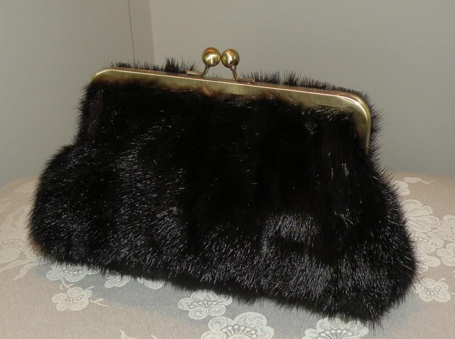 Wedding - Handmade Ranch Mink Clutch/Purse/Bag/Long Island Bride Bridal/Wedding Gift/Evening/Brown/Silk Kimono Lining/Vintage Wrap Fur
