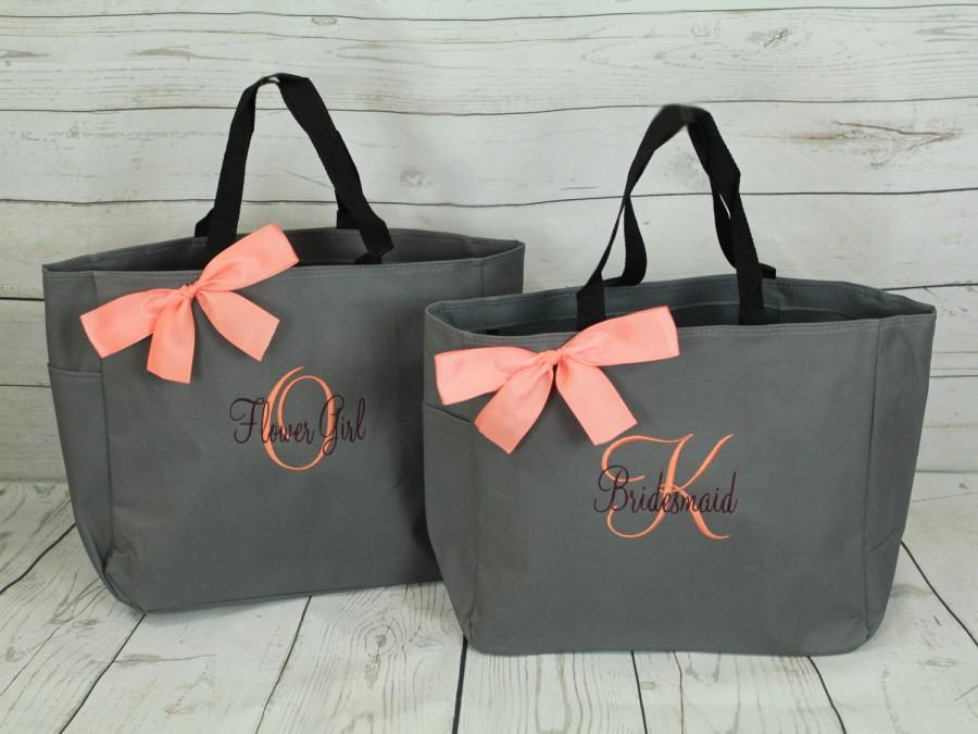 Wedding - 5 Personalized Tote Bag Bridesmaid Gifts (Set of 5) Monogrammed Tote, Bridesmaid Tote, Personalized Tote