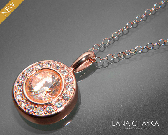 Hochzeit - Cubic Zirconia Rose Gold Necklace Crystal Halo Wedding Necklace Bridal Crystal Necklace CZ Rose Gold Pendant Bridesmaid Bridal Jewelry