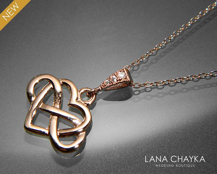 Wedding - Rose Gold Infinity Heart Necklace Wedding Heart Necklace Rose Gold Wedding Jewelry Heart Infinity Necklace Rose Gold Heart Pendant
