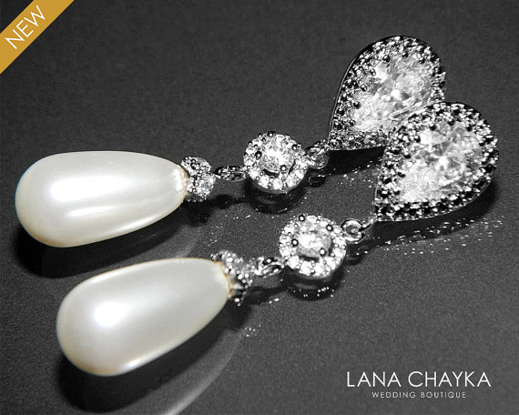 Boda - White Teardrop Pearl Bridal Earrings Swarovski White Pearls Silver Cubic Zirconia Earrings Wedding Pearl Jewelry Bridal Pearl Earrings